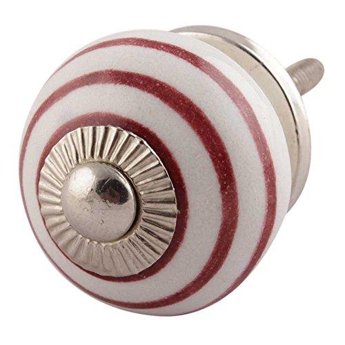 Indianshelf Handmade 2 Piece Ceramic Cherry Stripe Drawer Pulls Artistic Rust Free Vintage Kitchen Knobs ()