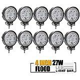 TURBOSII DOT Approved 10PCS 4 Inch Led Work Light Bar 27w Driving Pods Flood Beam Work Lamp For Off-Road Suv Boat 4X4 Jeep JK 4Wd Truck 12V-24V