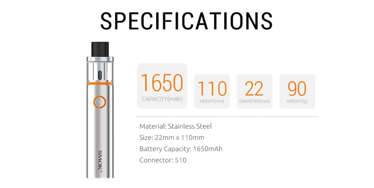 Authentic Smoktech SMOK VAPE PEN 22 Electrionic Cigarette E Cig Vape  1650mAh Kit Vape Pen 22 Tank (Silver)