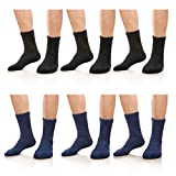 AOXION Mens 6 Pack Soft Fuzzy Warm Comfort Winter Home Floor Slipper Socks (3 Black+3 Blue)