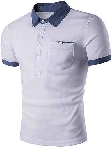 Camisa De Polo De Hombres Los De Camisa Simple Estilo Polo De Manga Corta De Verano Solapa Camisa De Los Hombres De Moda Lisa De Slim Fit Sports Casual Tops: Amazon.es: Ropa
