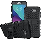 Galaxy J7 V Case, Galaxy J7 Prime Case, Galaxy J7 Perx Case, Galaxy J7 Sky Pro / Galaxy Halo Case, OEAGO Samsung Galaxy J7 2017 Case Tough Rugged Dual Layer Protective Case with Kickstand - Black