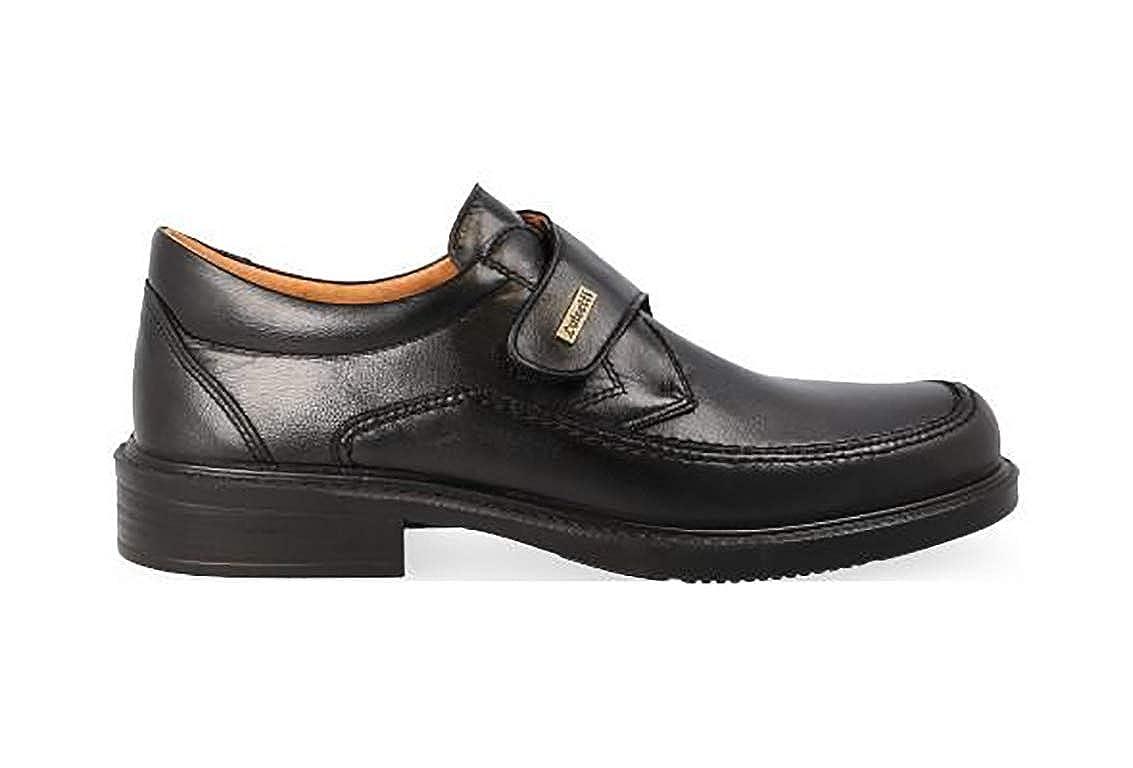 Zapatos Hombre en Piel de Cordero de la Marca LUISETTI Piso Poliuretano Antideslizante Color Negro con Cierre de Velcro 0108-26 Forro y Plantilla Piel