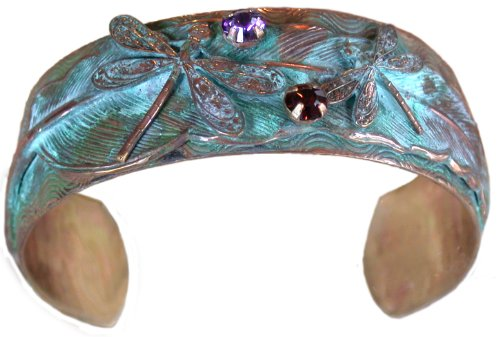 Elaine Coyne Dragonflies on Feather Cuff Bracelet – Swarovski Crystals