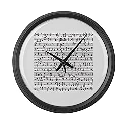 CafePress - Handwritten Musical Notes - - Large 17 Round Wall Clock, Unique Decorative Clock