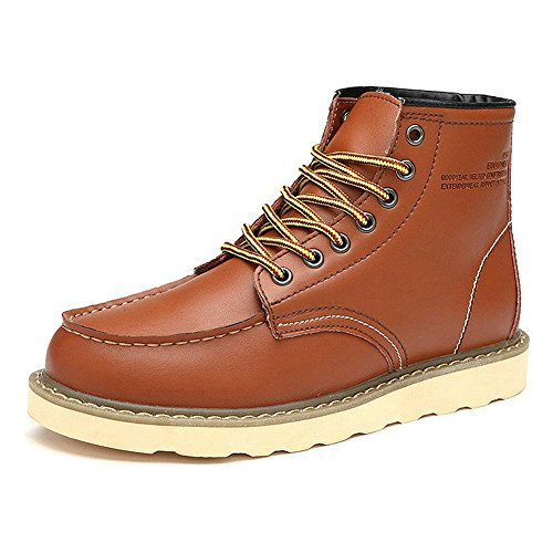 Fashion Street SN0027 Available Synthetic Lined Brown Platform rismart Leather US7 Fur Ankle Boots Mens Style TwxUq