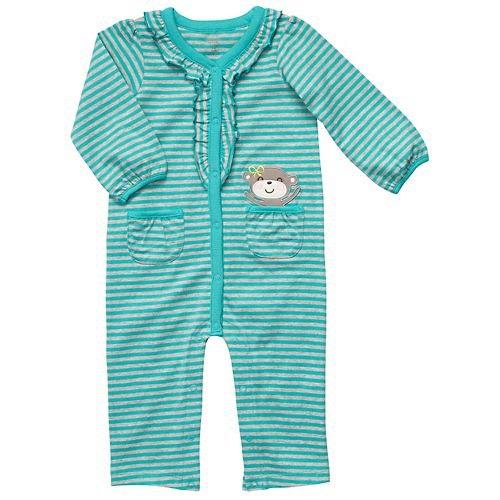 bc4951e41c16 Amazon.com  Carter s Turquoise Striped Monkey Jumpsuit - 6 Months ...