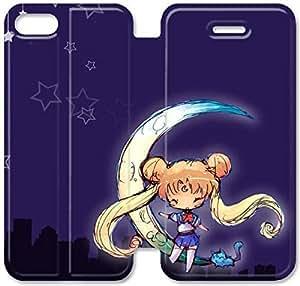 Funda de cuero del caso del tirón del cuero del teléfono funda Y0U36A1 Sailor Moon M4O14S7 iPhone 5C Alta Definición funda personalizada