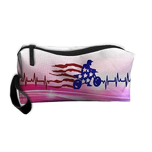 Heartbeat Flag Motocross Portable Zipper Storage Bag Multifunction Portable Make-up Mini Bag Makeup Bag