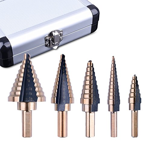 Step Drill Bit Set, 5pcs HSS Cobalt Titanium Grooved Step Drill Bit Set Tools Multiple Hole 50 Sizes Stepped Drill Bits with Aluminum Case, Two-Flute Design, High Speed Steel and 3 Side Shank Design