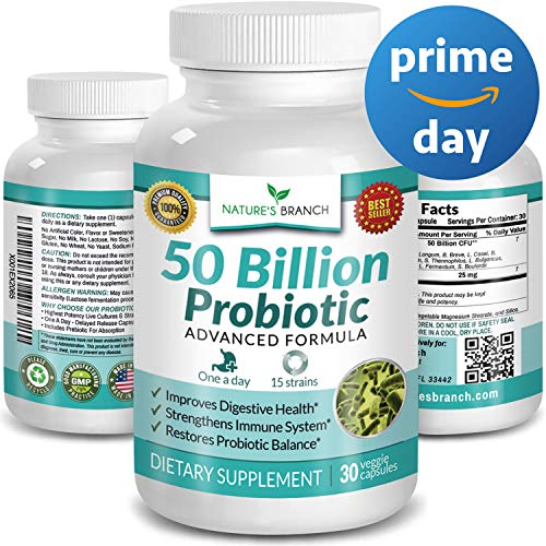 Best 50 Billion Probiotic 15 Strains ★ Digestive Health & Immune Support HIGH Potency w/Prebiotic Blend Ultra Probiotics for Women + Men Renew Natural Balance Ultimate Supplement 30 Capsules ()