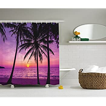 Ambesonne Palm Tree Shower Curtain Ocean Decor By Trees And Silhouette At Sunset Dreamy