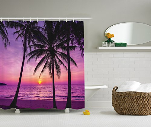 Ocean Shower Curtain Decor by Ambesonne, Palm Trees and Silhouette at Sunset Dreamy Dusk Warm Twilight Photo Pattern, Fabric Bathroom Shower Curtain Set, 84 Inches Extra Long, Purple and Black