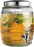 Clear Glass 2-gallon Barrel Beverage Dispenser with Spigot, Juice Holder Jug Party Centerpiece