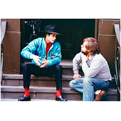 Michael Jackson 8 inch x 10 inch PHOTOGRAPH Singer Thriller Seated on Stairs Black Fedora & Blue Jacket Red Socks kn