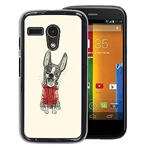 A-type Arte & diseño plástico duro Fundas Cover Cubre Hard Case Cover para Motorola Moto G 1 1ST Gen (Cute Puppy Sweater Sketch Drawing)