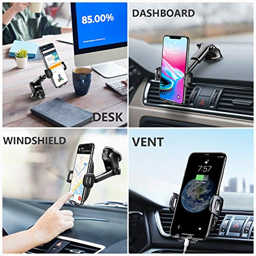 TORRAS [Military Grade] Cell Phone Holder for Car, Universal Car Phone Mount Dashboard Windshield Vent Compatible with iPhone 11 Pro Max XS X XR 8 Plus SE, Samsung Galaxy S20+Ultra Note10 Plus & All