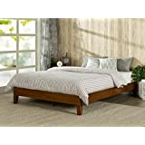 zinus 12 inch deluxe wood platform bed no boxspring needed wood slat support cherry finish queen - Wood Bed Frame Queen