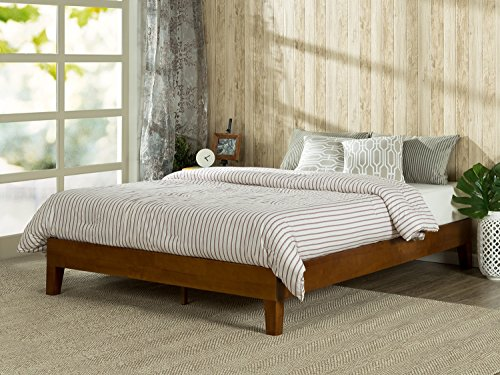 Zinus 12 Inch Deluxe Wood Platform Bed / No Boxspring Needed / Wood Slat support / Cherry Finish, Queen - Cherry Wood Finish Bed