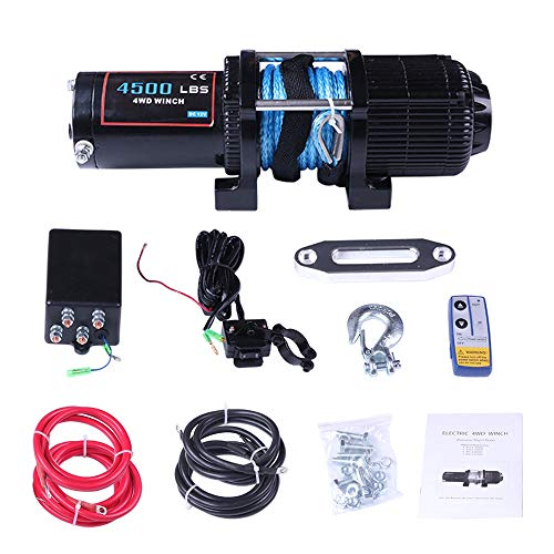 ECCPP Winches, 12V 4500 LBS Electric Winch/Clevis Hook/Aluminum Fairlead/Control Box/Wireless Remote Control/Switch Assembly/Negative Positive Wire/Instruction Manual for SUV/ATV/4WD/Off