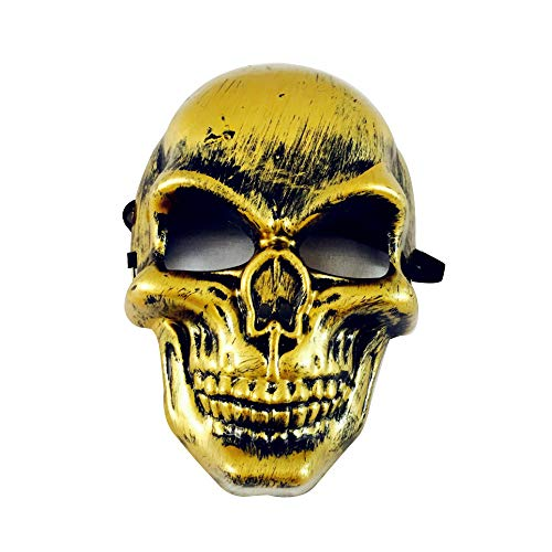 Cywulin Halloween Party Scary Props Skeleton Skull Mask Ghost Cosplay Horror Creepy Mask Grimace Costume for Men Women Kids (Gold) -