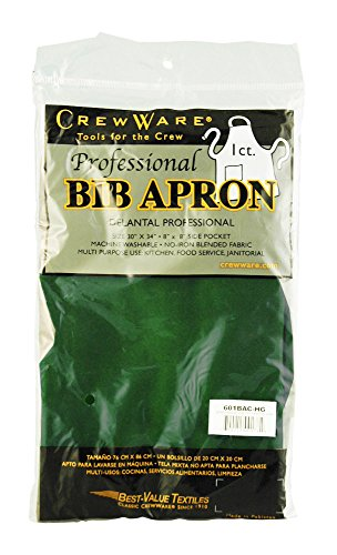 Chef Revival 601BAC Poly Cotton Full Length Bib Apron with Side Pocket, 34 by 30-Inch, Hunter Green Green Side Pocket Bib Apron