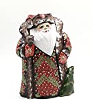 Russian SANTA w/ Christmas Tree Wood Hand Carved Hand Painted Signed by artist