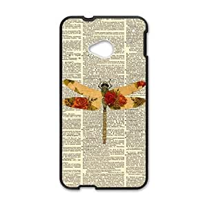 Vintage Paper Dragonflies Dragonfly Custom Cover Case for HTC One M7(Laser Technology)