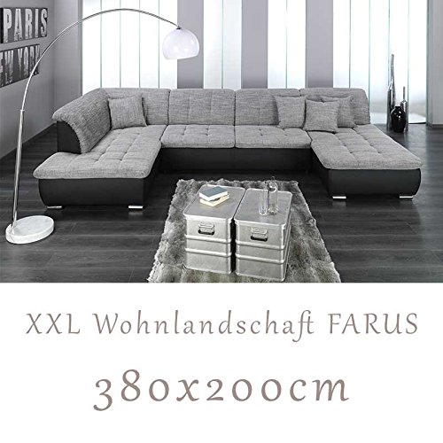 Wohnlandschaft Couchgarnitur Xxl Sofa U Form Schwarzgrau