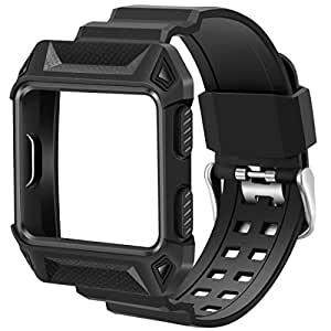 Compatible Fitbit Ionic Bands, iiteeology Breathable Shockproof TPU Protective Frame Case with Strap Band for Fitbit Ionic Smart Fitness Watch Accessory (Black)