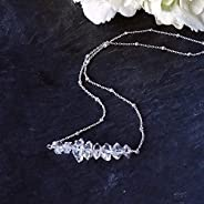 Herkimer Diamond Bar Sterling Silver Necklace Wedding Jewelry Gift