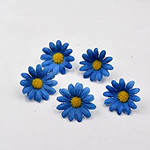 100pcs Artificial Flower Small Silk Sunflower Handmade Head Wedding Decoration DIY Wreath Gift Box Scrapbooking Craft Fake Flowe (White) 4