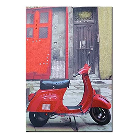 Bling Art Canvas Print with Rhinestones and glitter Vespa 60 x 90 cm Red   Amazon.co.uk  Kitchen   Home 37dd19422fc1