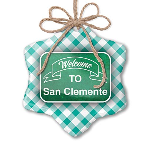 NEONBLOND Christmas Ornament Green Sign Welcome to San Clemente Pastel Mint Green Plaid