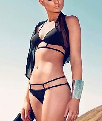 Bella-Kini Sexy Bikini Small Size black triangle top and bikini bottom 2 pcs set swimwear swimsuit