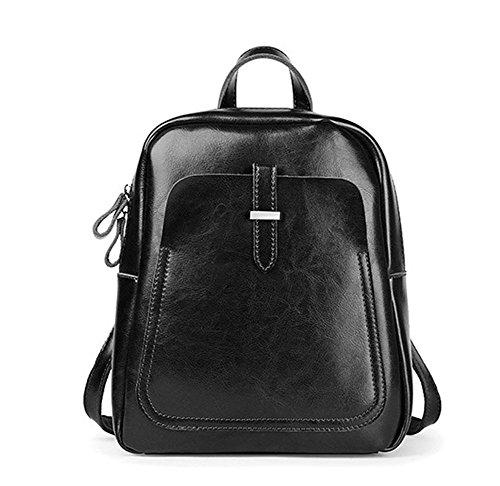GHMM Bolso femenino bolso de hombro del estilo retro de cuero doble ambiente simple trabajo de calle ocio de viaje (Color : Marrón) Negro