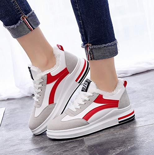Terciopelo Señoras Rojo Invierno Liangxie Casuales Calientes Estudiantes Deportes Y Zapatos Mujeres Blanco De Algodón OUWOqwfY