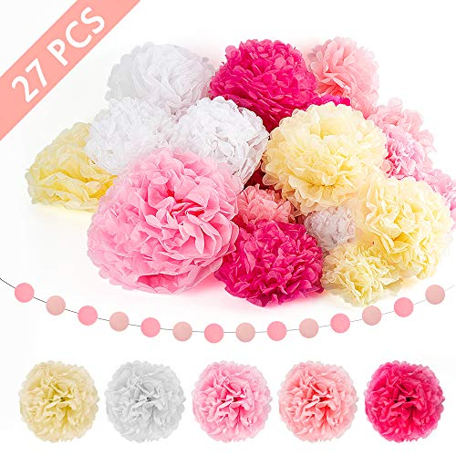 ZiiDooTissue Paper PomPoms Paper Flowers DIY Crafting for Wedding Backdrop Nursery Wall Decoration(27 PCS)
