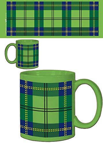 1art1 Dessins Dessin Carreaux Tartan écossais Vert Tasse à