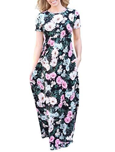 MIROL Womens Summer Casual Short Sleeve Floral Print High Waist Long Maxi Dress with Pockets