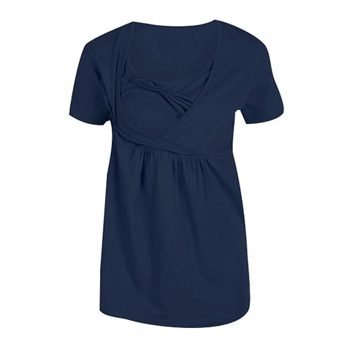 Yying 2 En 1 Moda Suave Suelta Cómoda Costura Invisible Ropa De Maternidad Plisada Embarazo Y Lactancia Tops De Lactancia Nuevas Mujeres Verde, Negro, ...