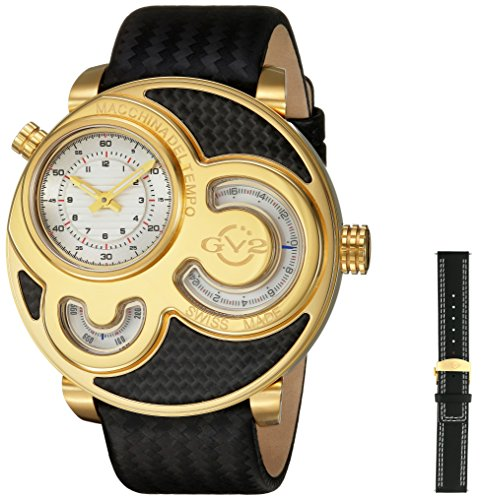Gevril Men's 8304 Macchina Del Tempo Gold Ip Black Leather Wristwatch