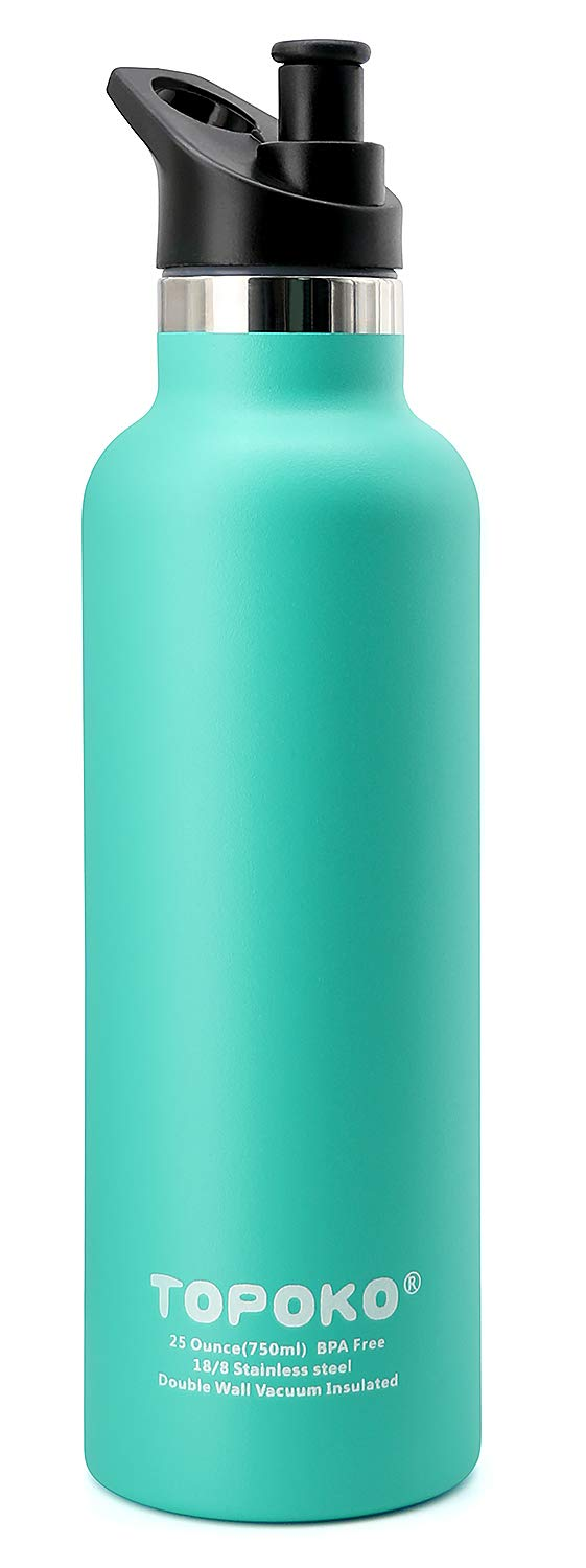 TOPOKO 25 OZ Double Wall Stainless Steel Water Bottle, Straw Lid with Handle or Bite Valve Top, Vacuum Insulated, Sweat Proof, Leak Proof Thermos Standard Mouth. (Mint Bite Valve)