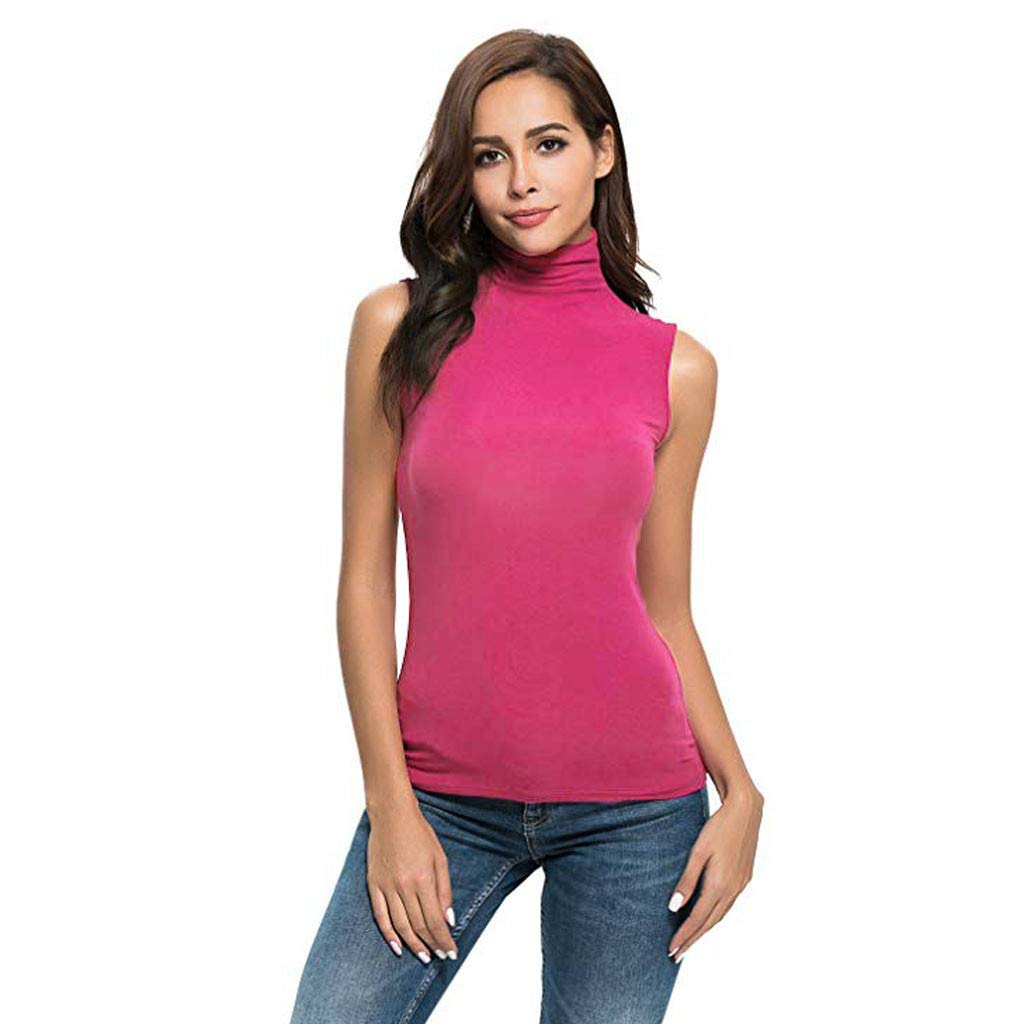 Women Solid O Neck Slim Vest Fit Turtleneck Cami Tee Shirt Polo Shirts for Men Blouse Red