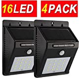 Solar Motion Sensor Light Outdoor 16 LED Home Security Lights Wall Lamp Deal of The Day Prime Today Sogrand Wireless Waterproof Bright Garage Lighting for Path Patio Deck Fence Pathway Driveway 4Pack