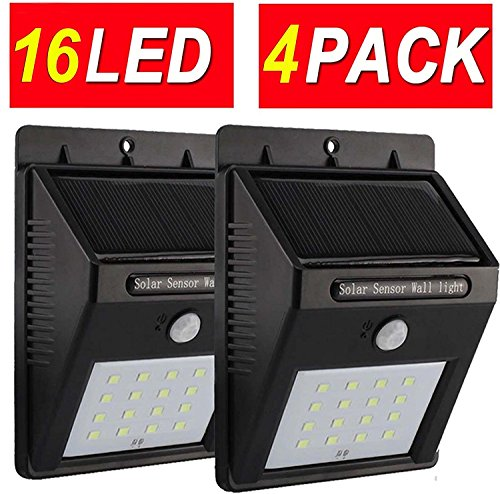 TFBOYS 16 LED Outdoor Solar Motion Sensor Wall Lights Wireless IP65 Waterproof Security Night Light For Yard Garden Driveway Outside Wall (4 Pack)
