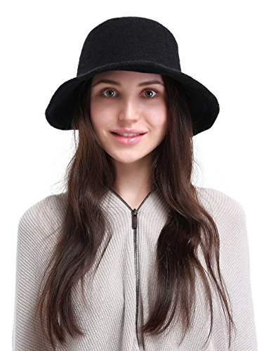 La Vogue Women's Vintage Style Autumn Winter Bucket Hat With Bowknot Black