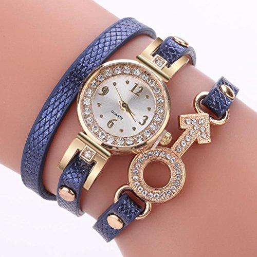 (LtrottedJ Woman Fashion Plant Pattern Alloy Steel Strap Analog Quartz Round Watch (Navy))