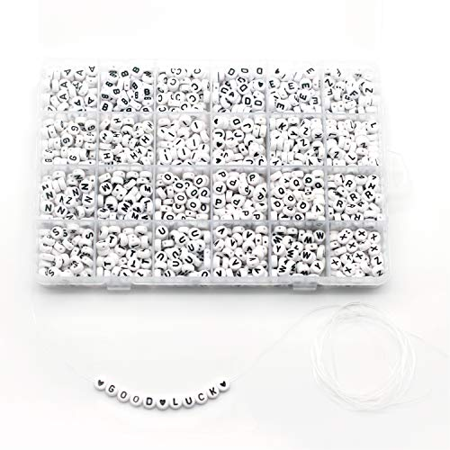 - 1350 Pieces 4×7mm White Round Acrylic Alphabet Letter Beads A-Z and Heart for Jewelry Making Bracelets Necklaces Key Chains and Kids Jewelry Each Letter Included