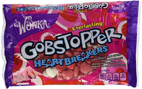 Gobstopper Red & White Heart Breakers Jawbreakers Change Colors & Flavors - 12 Oz (Sale Valentine Hearts)